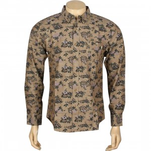Obey Shelly Woven Long Sleeve Shirt (brown)