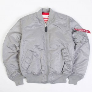 Alpha Industries Men MA-1 Blood Chit Reversible Jacket (silver / red)